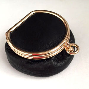 Handbags - Small Black Leather Gold Coin Purse Jewelry Case
